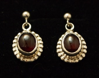 Sterling Silver and  Garnet  Drop Earrings