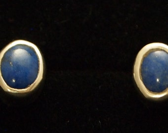 Sterling Silver and Lapis Post Earrings
