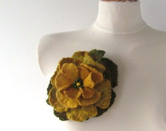 Felt brooch Yellow flower   brooch,  Autumn Green felt flower, Fancy flower, wool jewelry, felt flower Accessories woman  by Galafilc