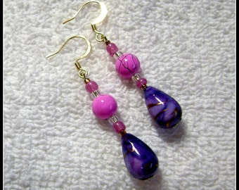 Purple Passion Earrings - Pink And Purple Jewelry - Dangle Earring - E105