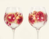 Hand-Painted Wine Glasses - Ruby Red, Gold Roses, Set of 4 - Hand Painted Red White Wine Glasses 40th 50th Anniversary Gift Idea