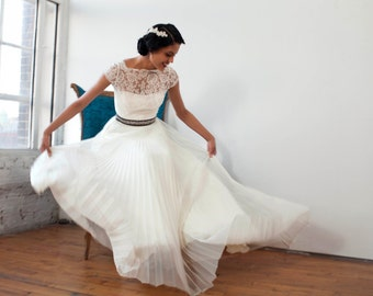 "Bateau Neckline, French Lace with Cap Sleeve, Pleated Tulle Wedding Gown, Bustier, The ""Julie-Kate"""
