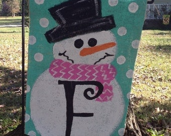 Burlap Snowman with Initial Yard Garden Flag Christmas Winter Outdoor Decor