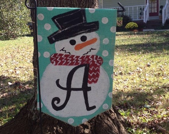 Burlap Red Scarf Winter Snowman with Monogram Initial Christmas Decor