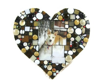 Valentine / PERSONALiZE iT  Dogs, Cats, or Kids, Adults...  any subject is perfect for a JillsJoy custom mosaic... HeART SHAPe - TaGT brown