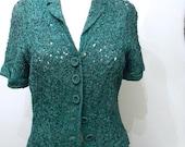 vintage.  50s Bullocks Green Ribbon Suit // Rare Green Suit // M