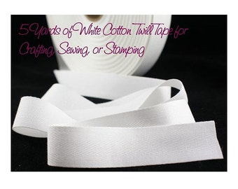Cotton Tape, Twill Tape, White Cotton, White Fabric Tape, Fabric Tape, Crafting Tape, 1 in Cotton Tape, Crafting, Stamping, Waterproof
