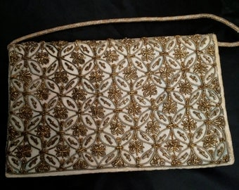 Vintage 1950's Floral Gold Bullion Embroidered Ivory Velveteen Evening Bag from India