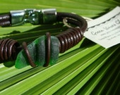 Genuine Green Sea Glass and leather bracelet