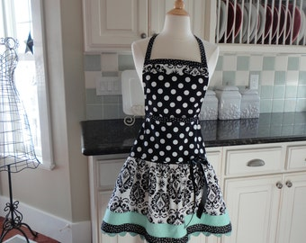 Seaside Aqua and Black Damask ~ Ellie Style Women's Apron ~ 4RetroSisters