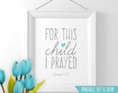 Printable wall art For this child I prayed Scripture Bible Verse Art 1 Samuel 1:27 baby boy nursery wall art decor gift