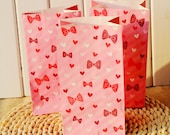 Small Pink Love Hearts and Ribbons flat bottomed paper bags