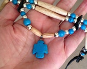 Turquoise thunderbird antiqued bone hair pipe choker native american style, blue, ivory, black deerskin leather