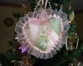 """Pink and Green 7"""" Crazy Quilt Heart with Ribbon Embroidery Ornament"""