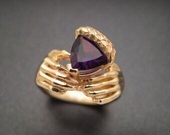 Golden Amethyst Acorn Ring