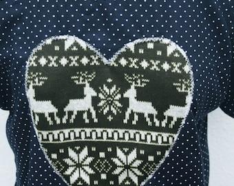 SALE! Christmas cute kawaii Navy polka dot shirt top with green reindeer heart appliqué o.o.a.k handmade Size S UK 10-12