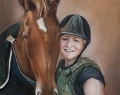 Oil Painting - Custom Portraits from Your Photos - One person + pet/horse Portrait - LARGE format 24x20 inches (Half Body)