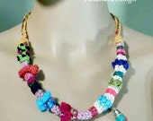 Reduced - ELEGANT CONTEMPORARY NECKLACE - Wearable Fiber Art Jewelry, Freeform Crochet Embellishments, Turquoise & Ceramics Pieces