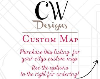 Custom Wedding Map for YOUR wedding city!