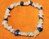 SALE 75% OFF Rose quartz, blue lace agate & lapis lazuli natural beaded stretch bracelet - Small (6.5 inches), latex-free