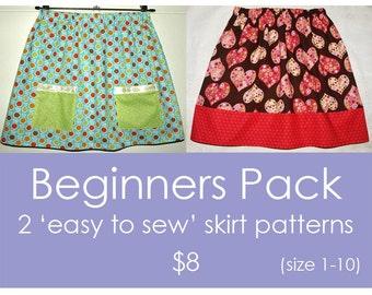Easy skirt pattern, Toddler skirt pattern, Girls pdf sewing pattern, Girls skirt pattern - 2 'Easy to Sew' skirt patterns (size 1 to 10)