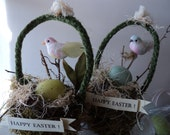 two lovely birdnests made from moss and twigs  add a bird or two and you have spring