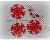 "3"" Red Felt Snowflake 20 Ct."