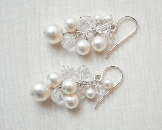 Pearl Wedding Earrings, Pearl Bridal Jewelry, Pearl and Crystal Earrings, Swarovski Wedding Earrings