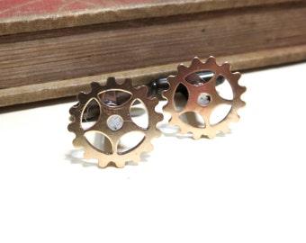 Raw Brass Gear Cuff Links - Soldered - Steampunk Victorian Antique Brass Cufflinks