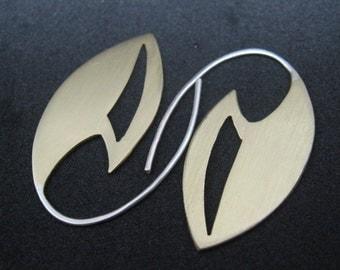Ambassador brass and sterling silver earrings star trek inspired blade style