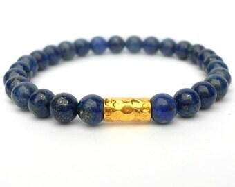 Lapis Stacking Bracelet - Blue - Lapis Bracelet - 6mm