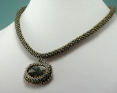Green Ocean Jasper Bead Woven Necklace