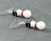 White Snowmen, Crystal Earrings, Dangling Earrings