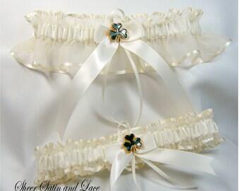IRISH SHAMROCK Wedding garters Ivory Garter set