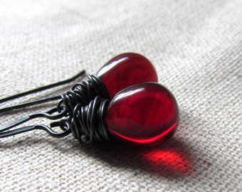 Garnet Red Earrings, January Birthstone, Czech Glass, Crimson, Dark Red, Teardrop Earrings, Sterling Silver Handmade Jewelry