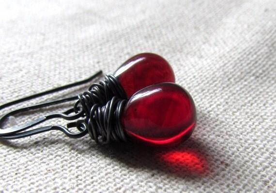 Garnet Red Earrings, January Birthstone, Czech Glass, Crimson, Dark Red, Teardrop Earrings, Sterling Silver Handmade Jewelry