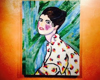 SALE ... Francoise ~ Mosaic portrait, French woman in a Kimono, priced unframed