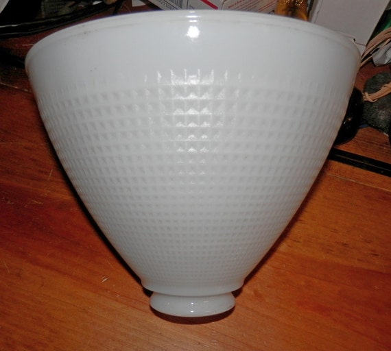 inch ies milk glass waffle pattern lamp shade vintage for table or. Black Bedroom Furniture Sets. Home Design Ideas
