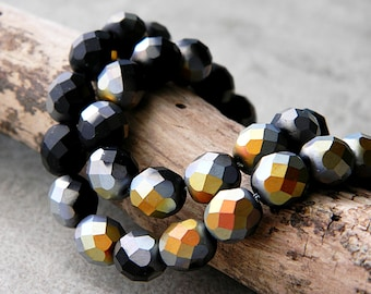8mm Faceted Round Glass Beads, Czech Glass Beads, Fire Polished Beads, Jet & Matte Marea (50pcs) NEW