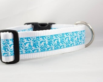 "Island Blue Swirls Dog Collar, 1.5"" inch wide, buckle or martingale, floral, girly, white, swirl, flowers"