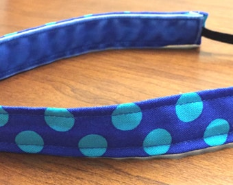 "1"" Non Slip Headband --Blue with Turquoise Dots"