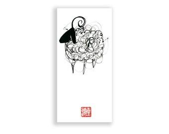Sheep Chinese New Year of the Sheep, Ram, Goat Chinese zodiac, Sheng Xiao, 2015 Original Sumi ink Painting, zen decor, baby shower, junishi