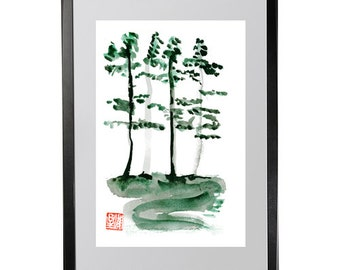 Zen Taoist Landscape Painting, Poet Han Shan Cold Mountain poem Zen fine art handmade sumi e ink paintiing. zen decor, zen illustration, tao