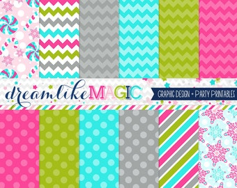 Snowflake Cutie, Holiday Christmas Paper Pack, Snowflakes, Pink and Blue, Candy Digital Paper, Holiday Candy, Scrapbook Paper, Web Design