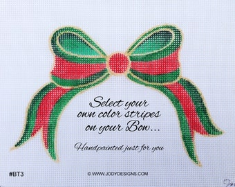 Bow Topper Needlepoint Ornament - Stripe style - Select your own colors - Jody Designs BT3