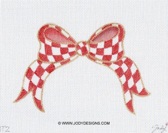 Red and White Checked Bow Topper Needlepoint Bow - Jody Designs BT2
