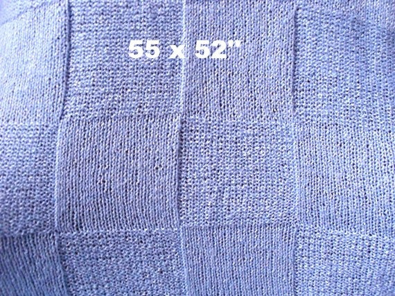 Blanket  Afghan  Throw    Size 55 x 52 inches  Baby blanket  BLUE color  Hand knit   Ready to ship