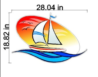 Sailboat Wall Decal Removable/Repositionable Sailing Sticker