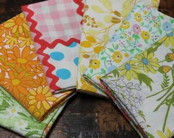 Vintage Bed Sheet Fabric reclaimed bed linen Fat Quarter Bundle fun floral butterflies stash builder bundle spring summer quilt decor 6 FQs