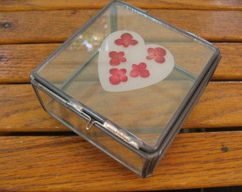 Glass Trinket Box - Vintage Handmade - Display / Curio Box - Square w/ Heart and Pressed Flowers -  Hinged Lid w/ Slide Closure